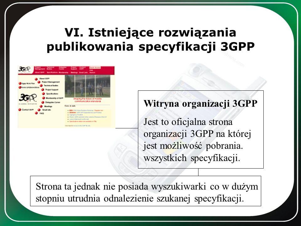 VI. Istniejące rozwiązania publikowania specyfikacji 3GPP