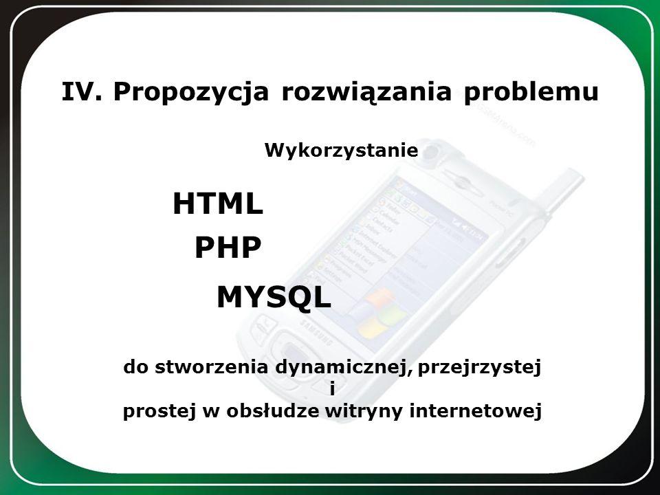 IV. Propozycja rozwiązania problemu