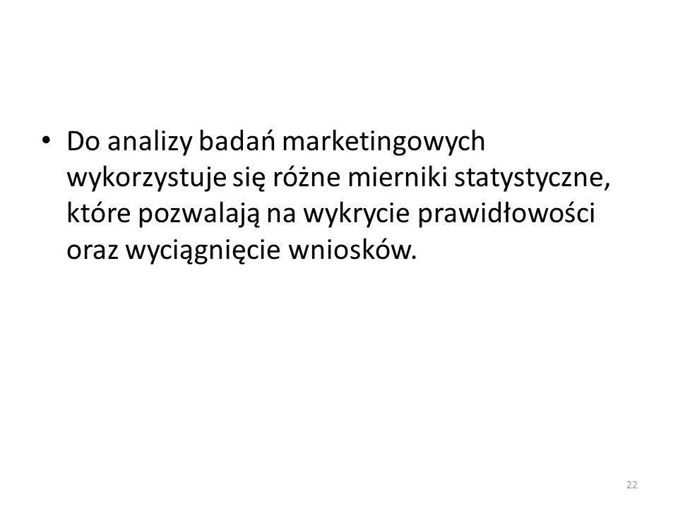 Do analizy badań marketingowych wykorzystuje się różne mierniki statystyczne, które pozwalają na wykrycie prawidłowości oraz wyciągnięcie wniosków.