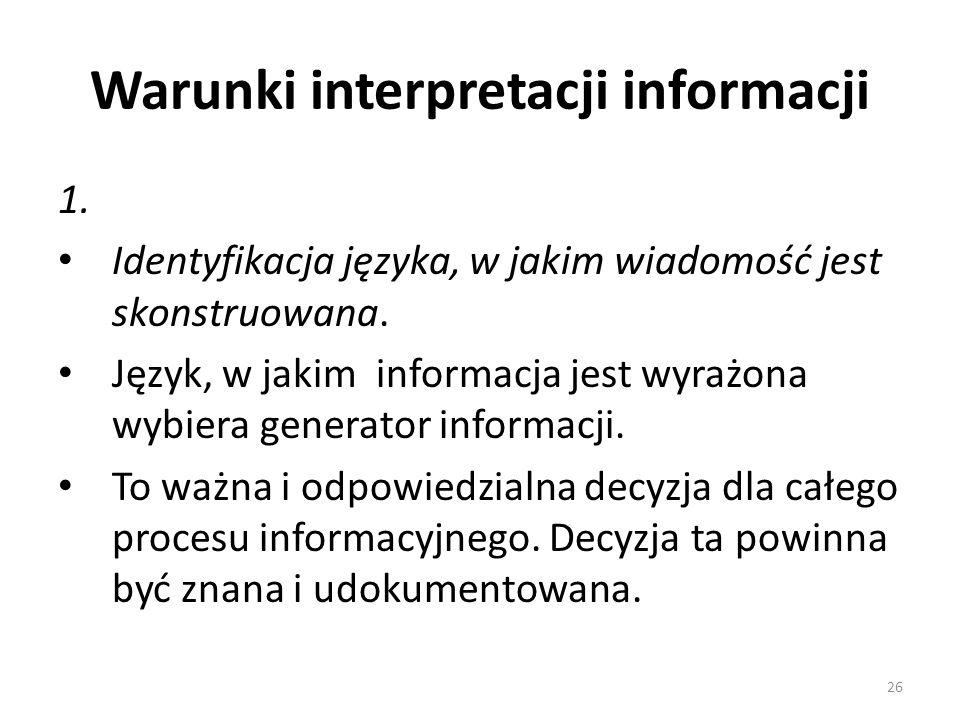 Warunki interpretacji informacji