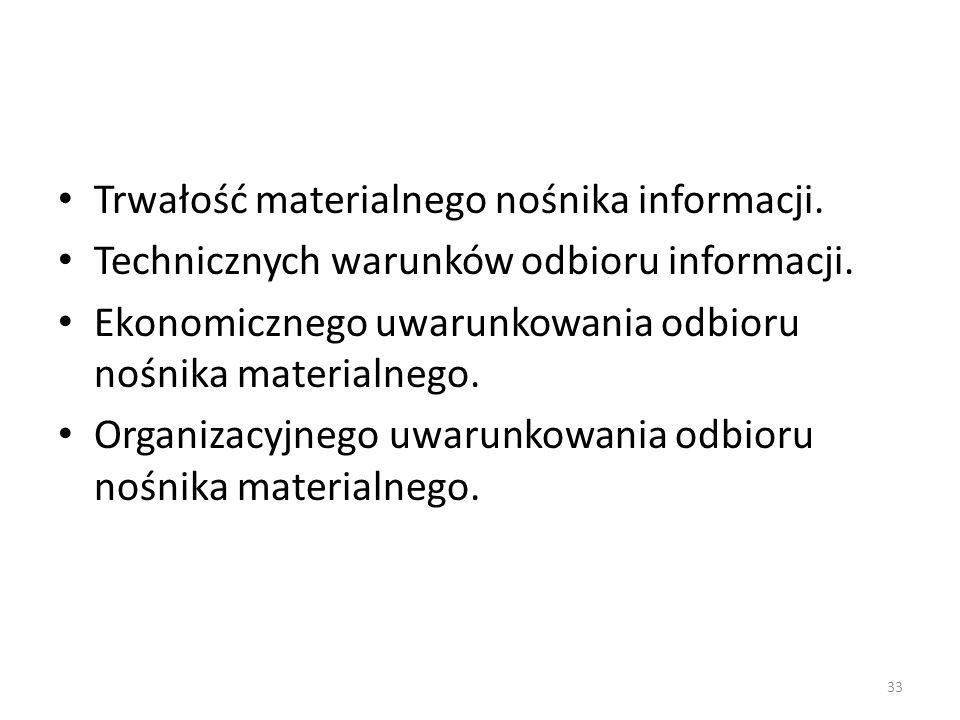 Trwałość materialnego nośnika informacji.