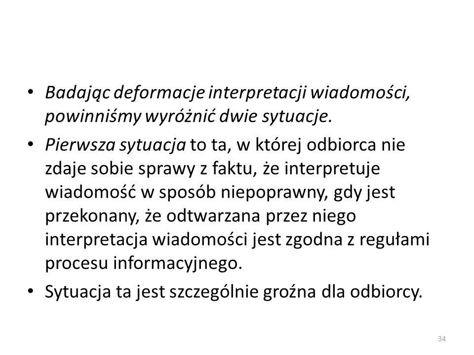 Badając deformacje interpretacji wiadomości, powinniśmy wyróżnić dwie sytuacje.