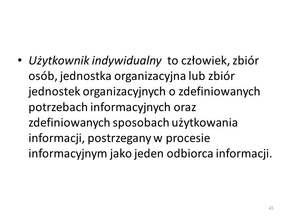 Użytkownik indywidualny to człowiek, zbiór osób, jednostka organizacyjna lub zbiór jednostek organizacyjnych o zdefiniowanych potrzebach informacyjnych oraz zdefiniowanych sposobach użytkowania informacji, postrzegany w procesie informacyjnym jako jeden odbiorca informacji.