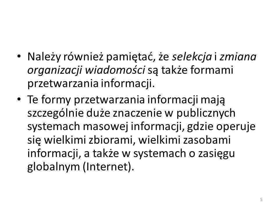 Należy również pamiętać, że selekcja i zmiana organizacji wiadomości są także formami przetwarzania informacji.