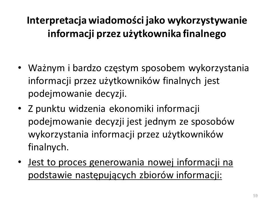 Interpretacja wiadomości jako wykorzystywanie informacji przez użytkownika finalnego