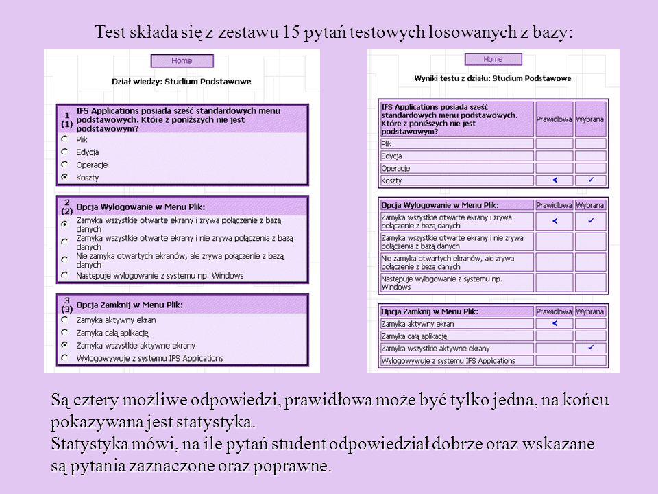 Test składa się z zestawu 15 pytań testowych losowanych z bazy: