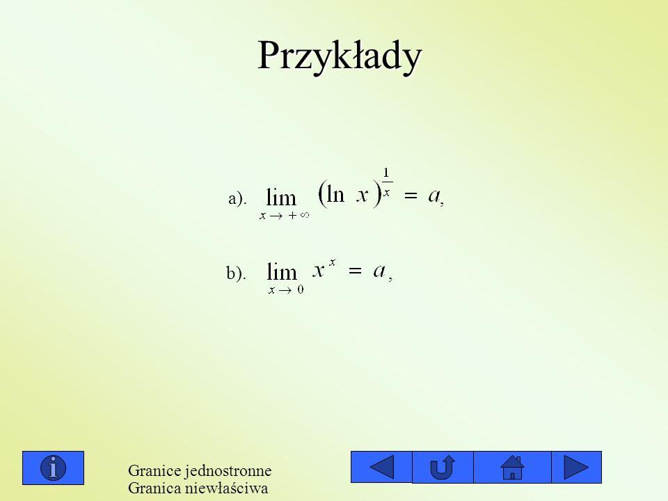 Przykłady a). , b). , Granice jednostronne Granica niewłaściwa