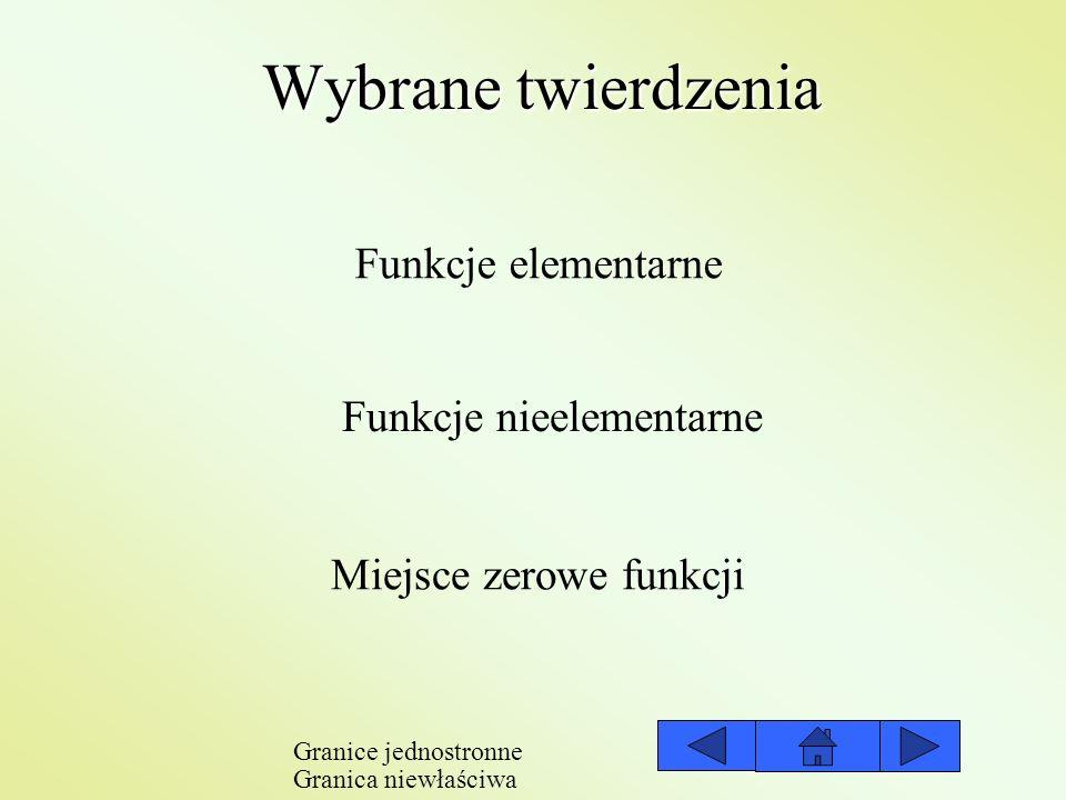 Wybrane twierdzenia Funkcje elementarne Funkcje nieelementarne