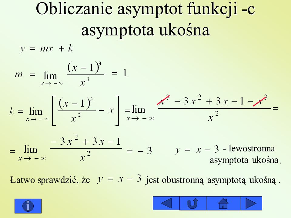 Obliczanie asymptot funkcji -c asymptota ukośna