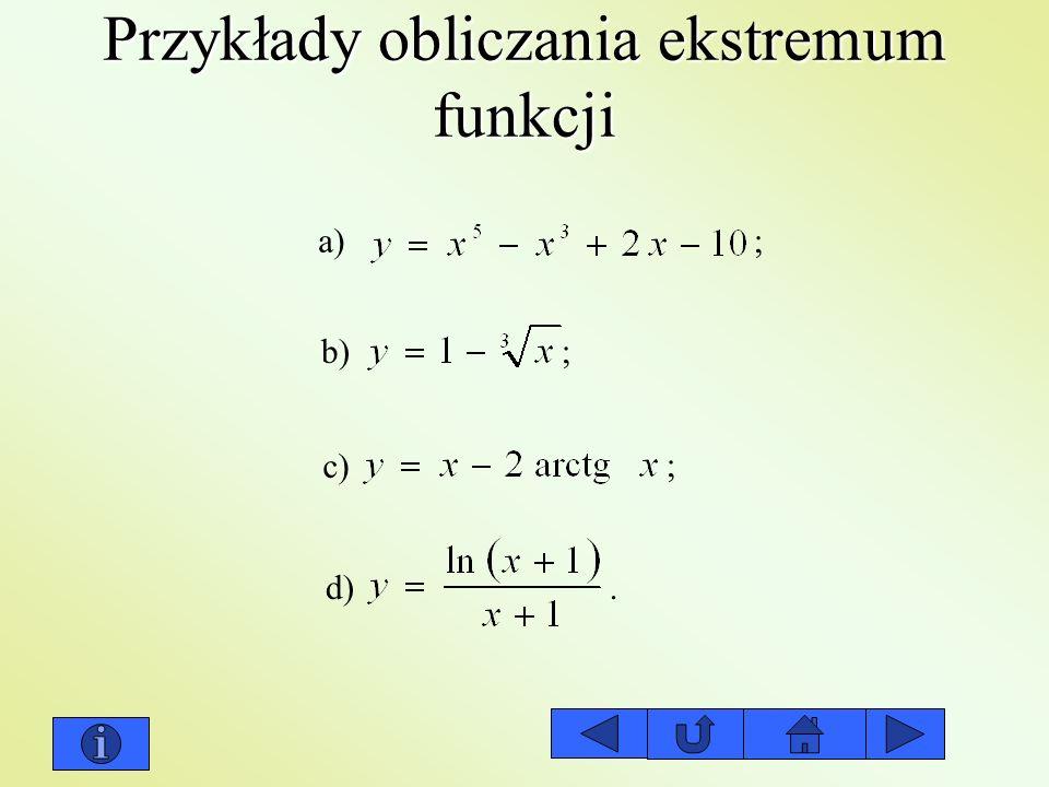 Przykłady obliczania ekstremum funkcji