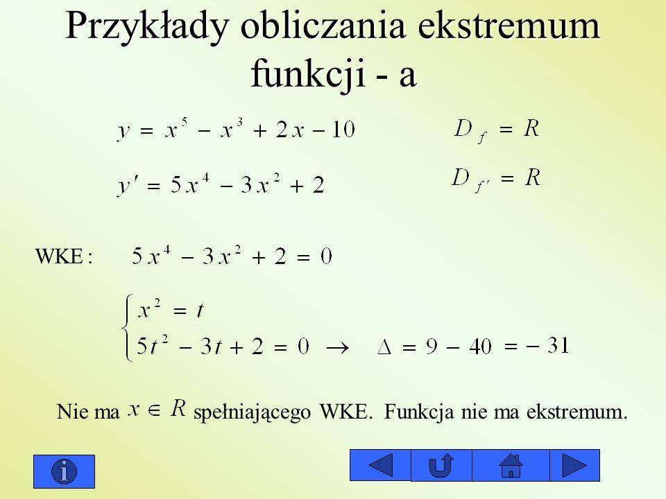 Przykłady obliczania ekstremum funkcji - a