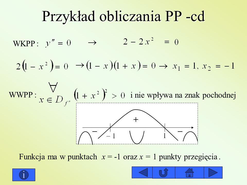 Przykład obliczania PP -cd