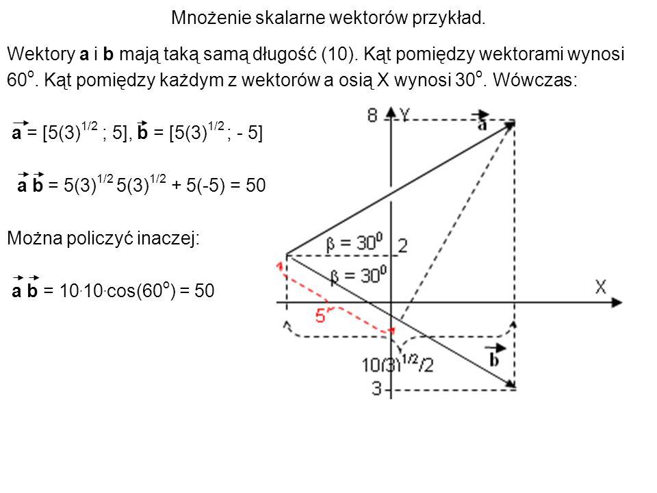 Mnożenie skalarne wektorów przykład.