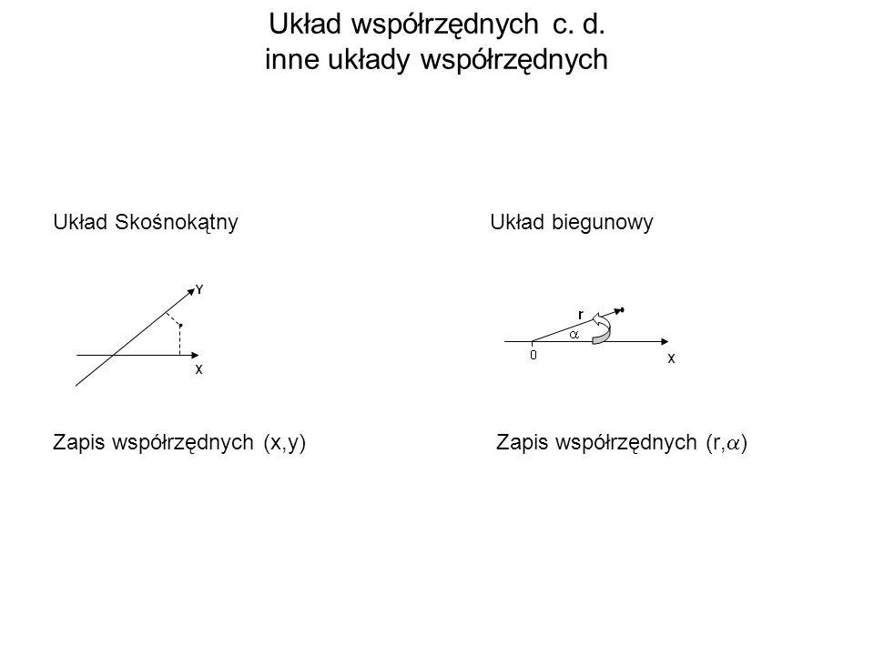 Układ współrzędnych c. d. inne układy współrzędnych