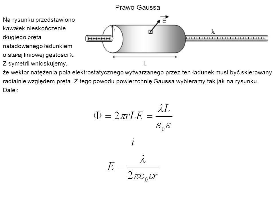 Prawo Gaussa Na rysunku przedstawiono kawałek nieskończenie