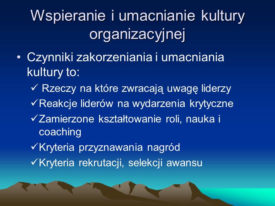 Wspieranie i umacnianie kultury organizacyjnej