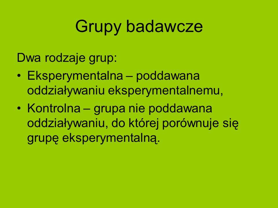 Grupy badawcze Dwa rodzaje grup: