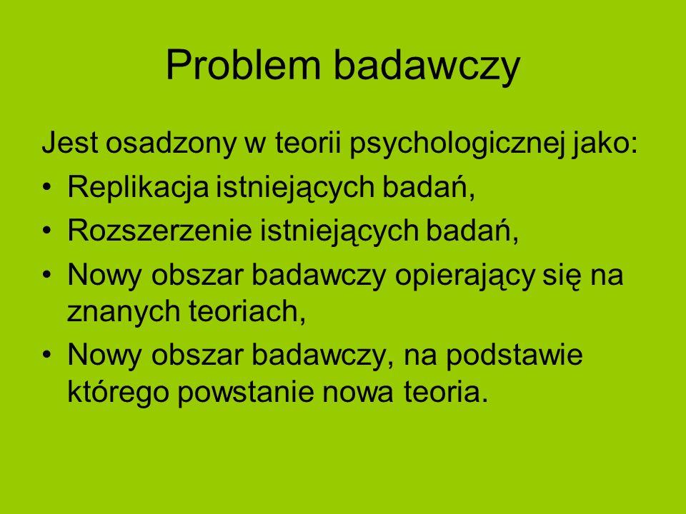 Problem badawczy Jest osadzony w teorii psychologicznej jako: