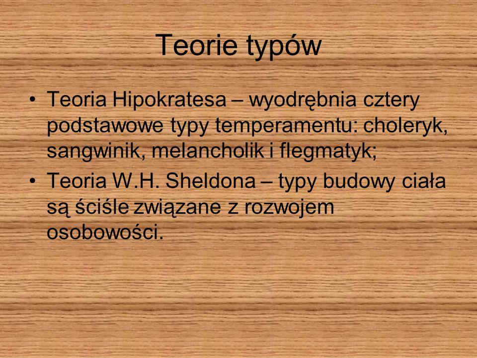 Teorie typówTeoria Hipokratesa – wyodrębnia cztery podstawowe typy temperamentu: choleryk, sangwinik, melancholik i flegmatyk;
