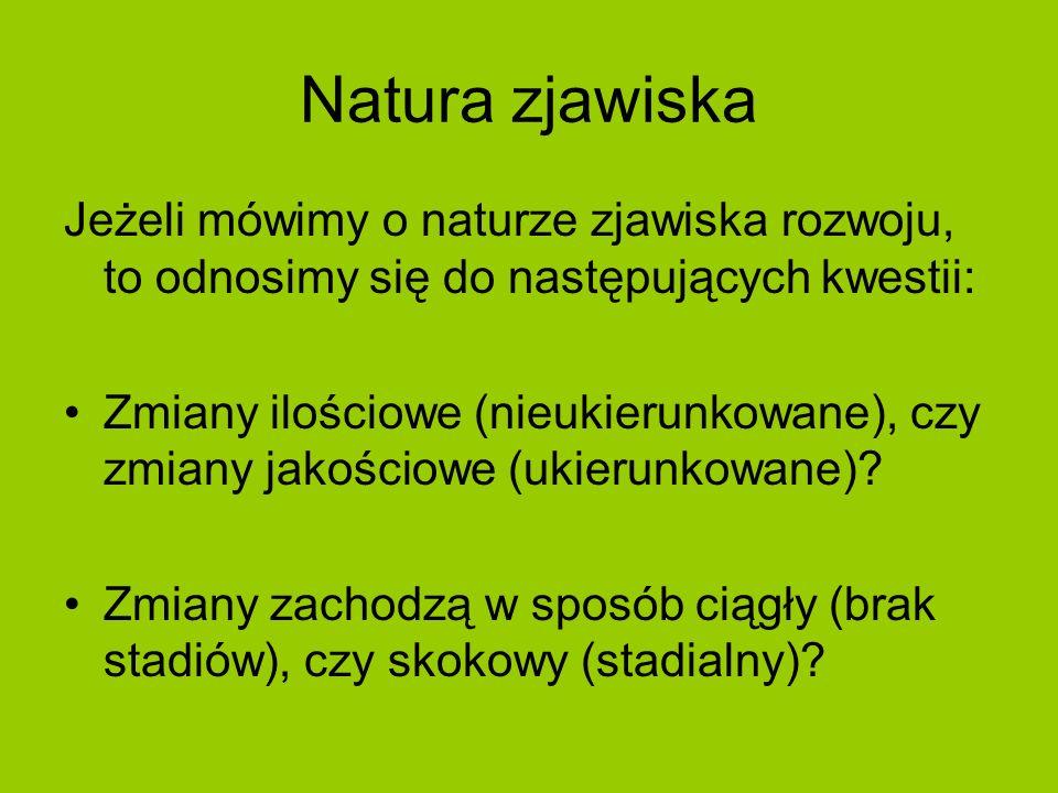 Natura zjawiska Jeżeli mówimy o naturze zjawiska rozwoju, to odnosimy się do następujących kwestii:
