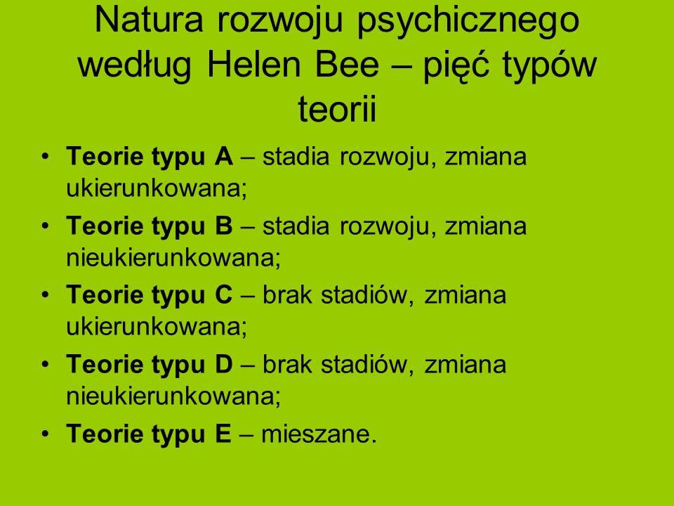 Natura rozwoju psychicznego według Helen Bee – pięć typów teorii