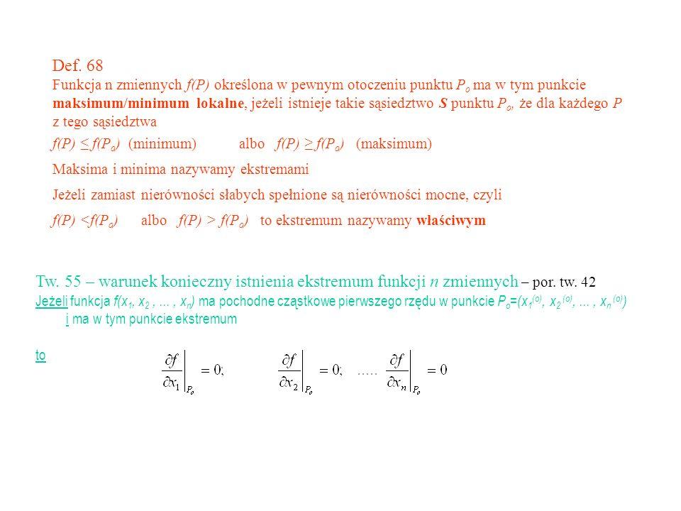 Def. 68 Funkcja n zmiennych f(P) określona w pewnym otoczeniu punktu Po ma w tym punkcie.