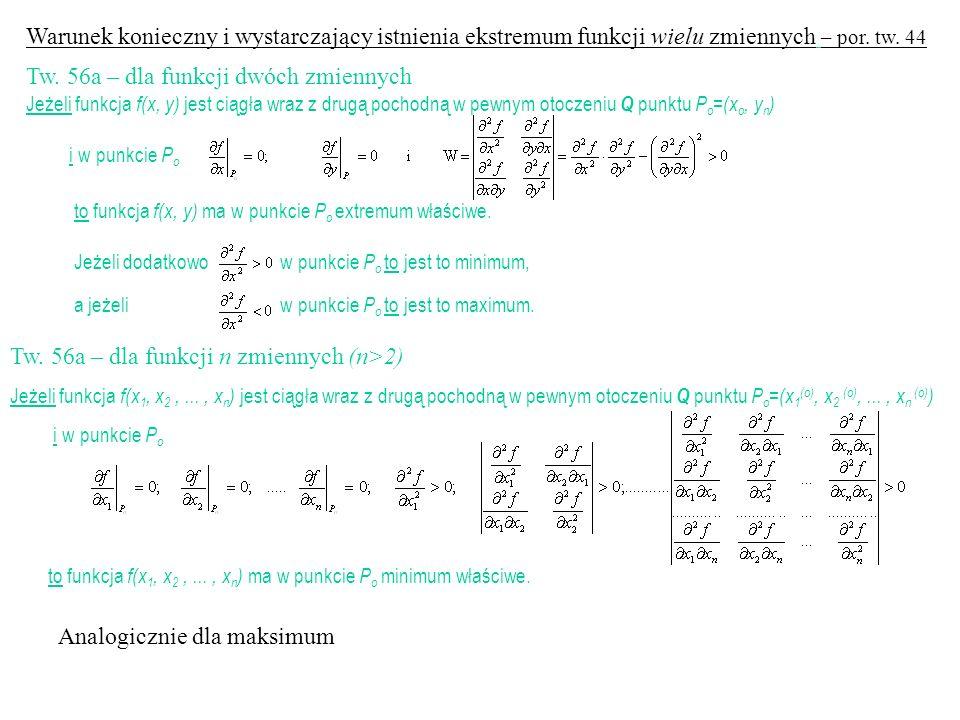 Tw. 56a – dla funkcji dwóch zmiennych
