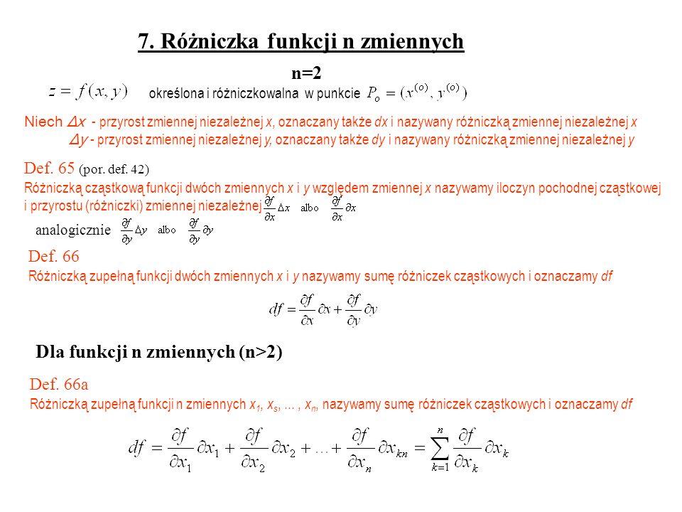 7. Różniczka funkcji n zmiennych