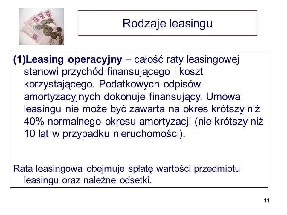 Rodzaje leasingu
