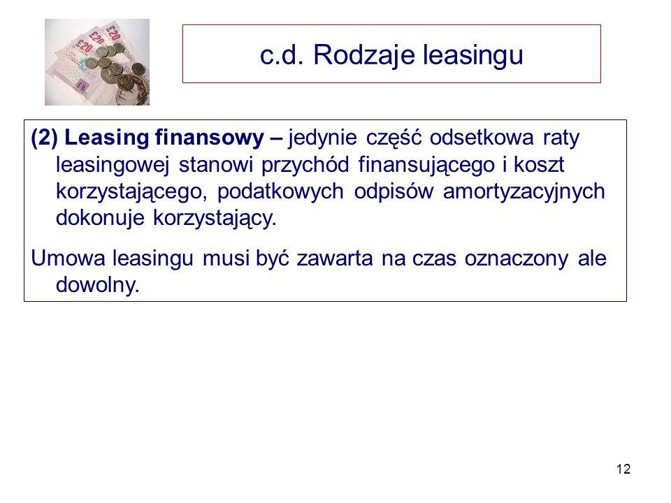 c.d. Rodzaje leasingu