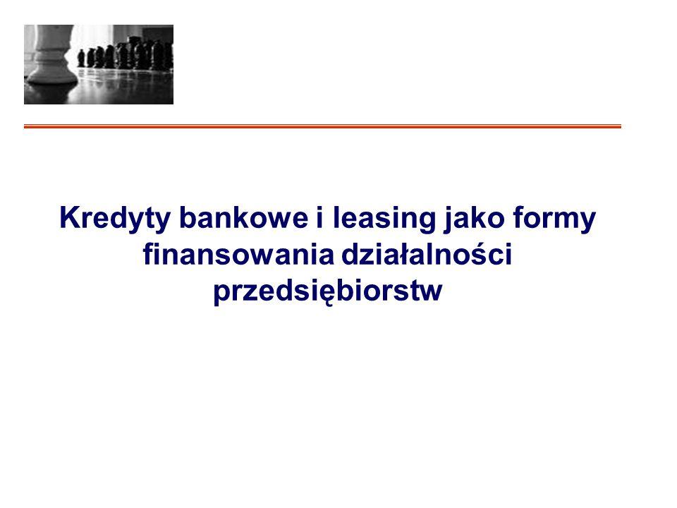 Kredyty bankowe i leasing jako formy finansowania działalności przedsiębiorstw