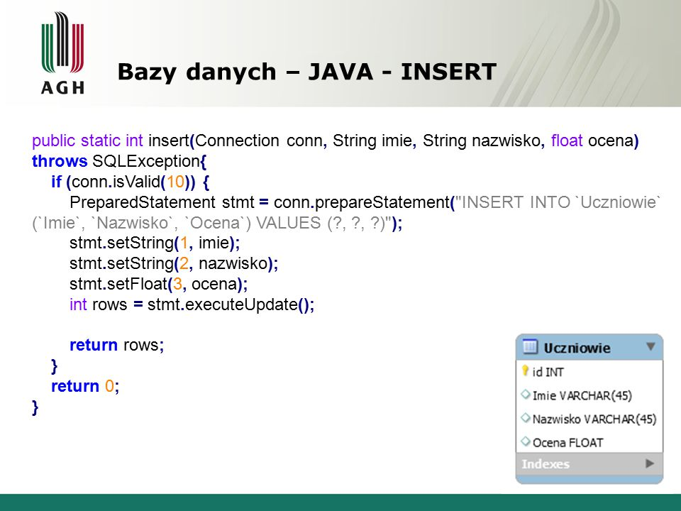 Bazy danych – JAVA - INSERT