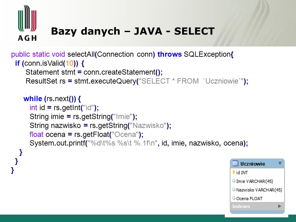 Bazy danych – JAVA - SELECT