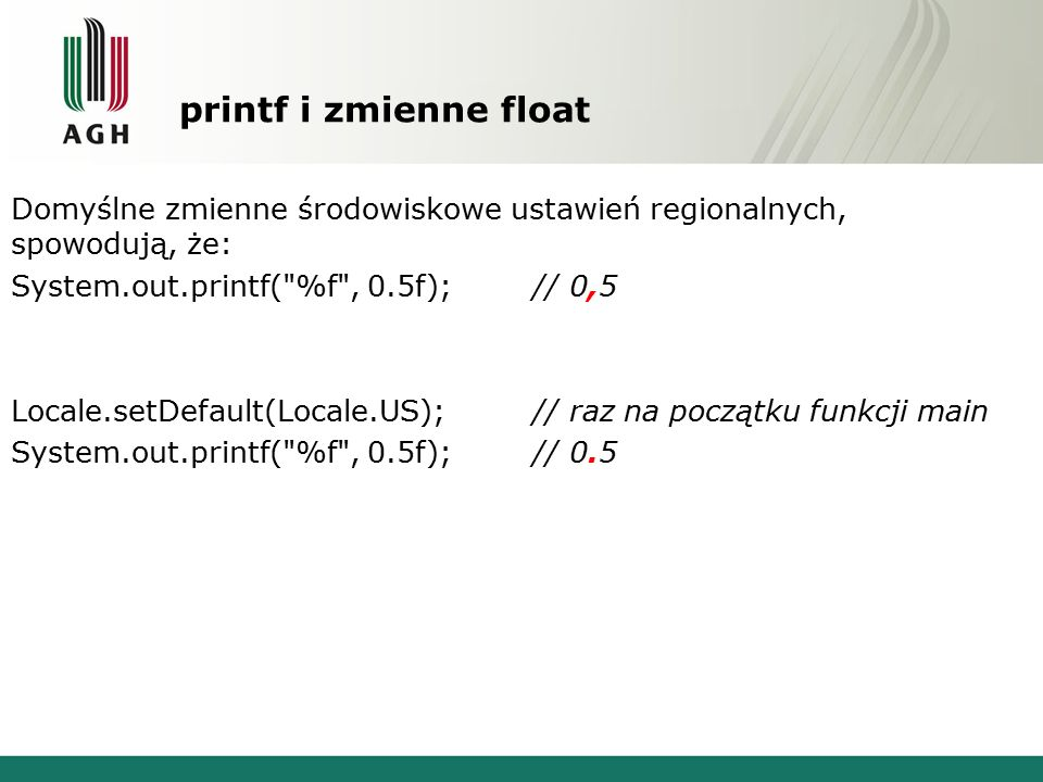 printf i zmienne float
