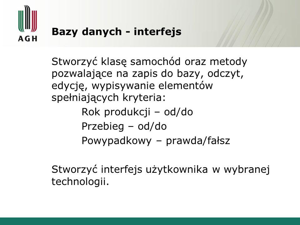 Bazy danych - interfejs