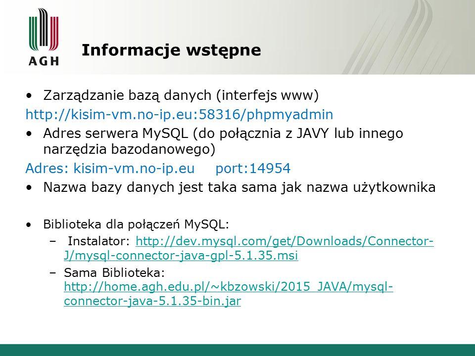 Informacje wstępne Zarządzanie bazą danych (interfejs www)