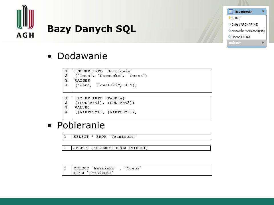 Bazy Danych SQL Dodawanie Pobieranie