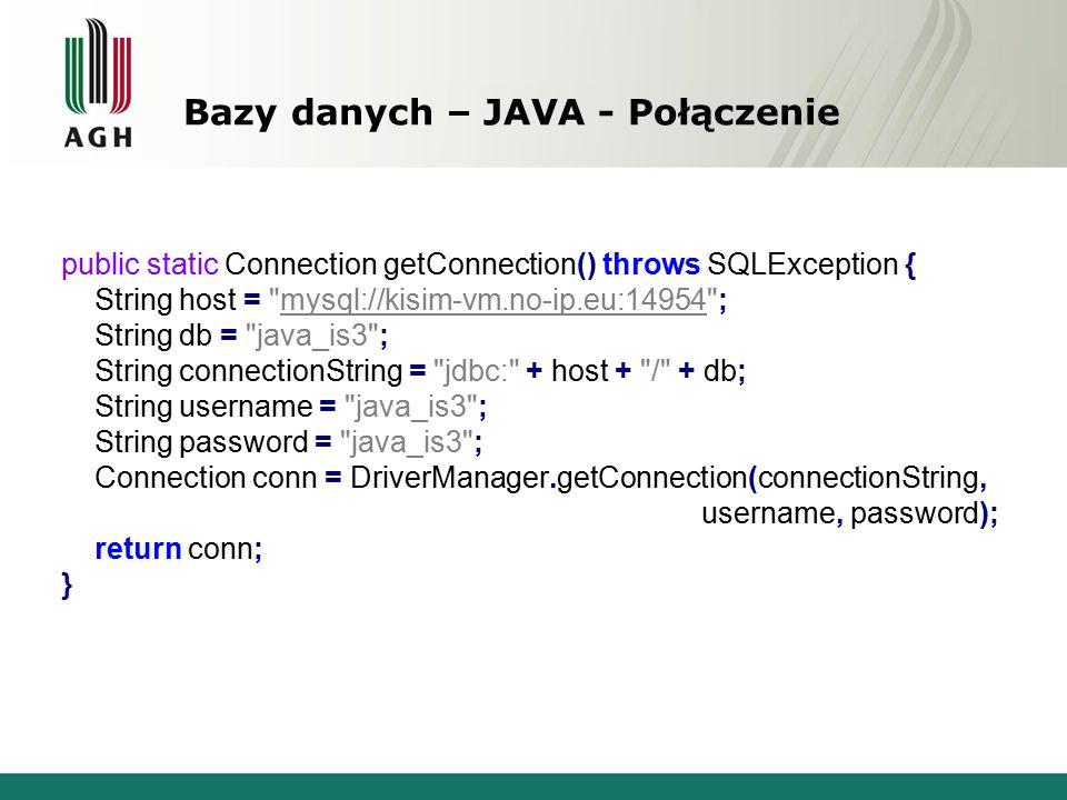 Bazy danych – JAVA - Połączenie