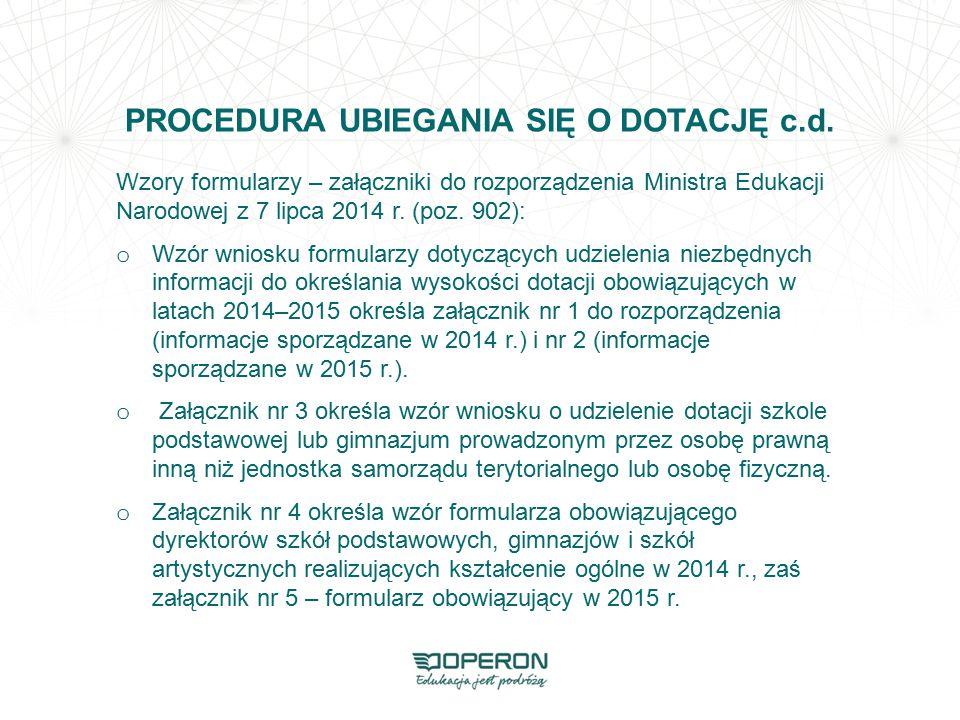 PROCEDURA UBIEGANIA SIĘ O DOTACJĘ c.d.