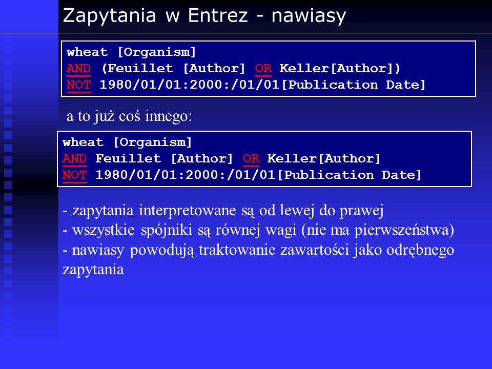 Zapytania w Entrez - nawiasy