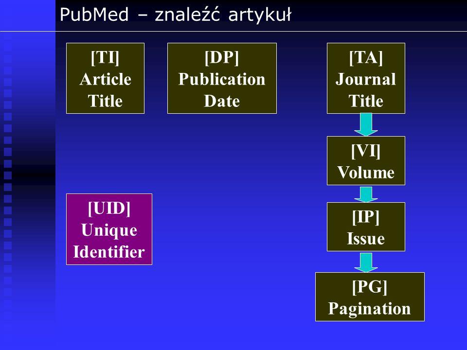 PubMed – znaleźć artykuł