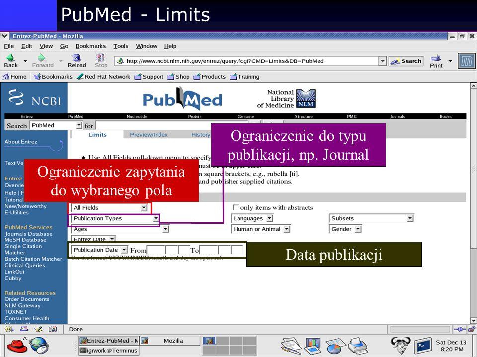 PubMed - Limits Ograniczenie do typu publikacji, np. Journal