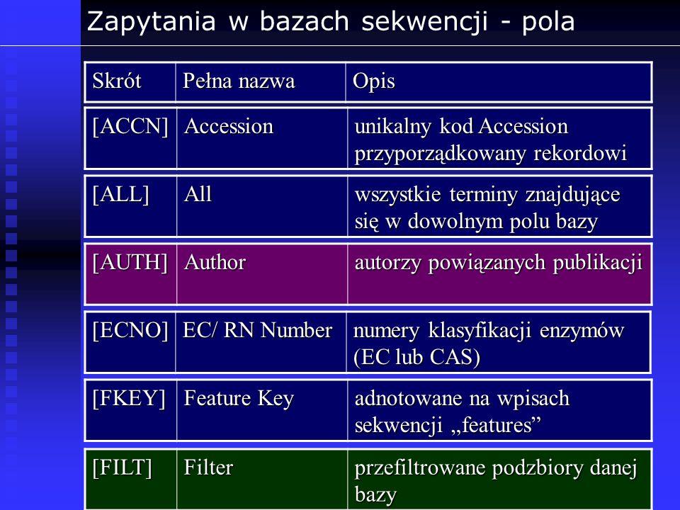 Zapytania w bazach sekwencji - pola