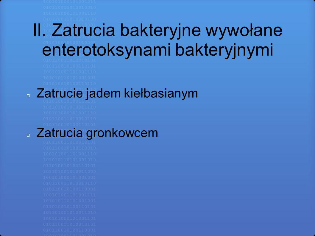 II. Zatrucia bakteryjne wywołane enterotoksynami bakteryjnymi