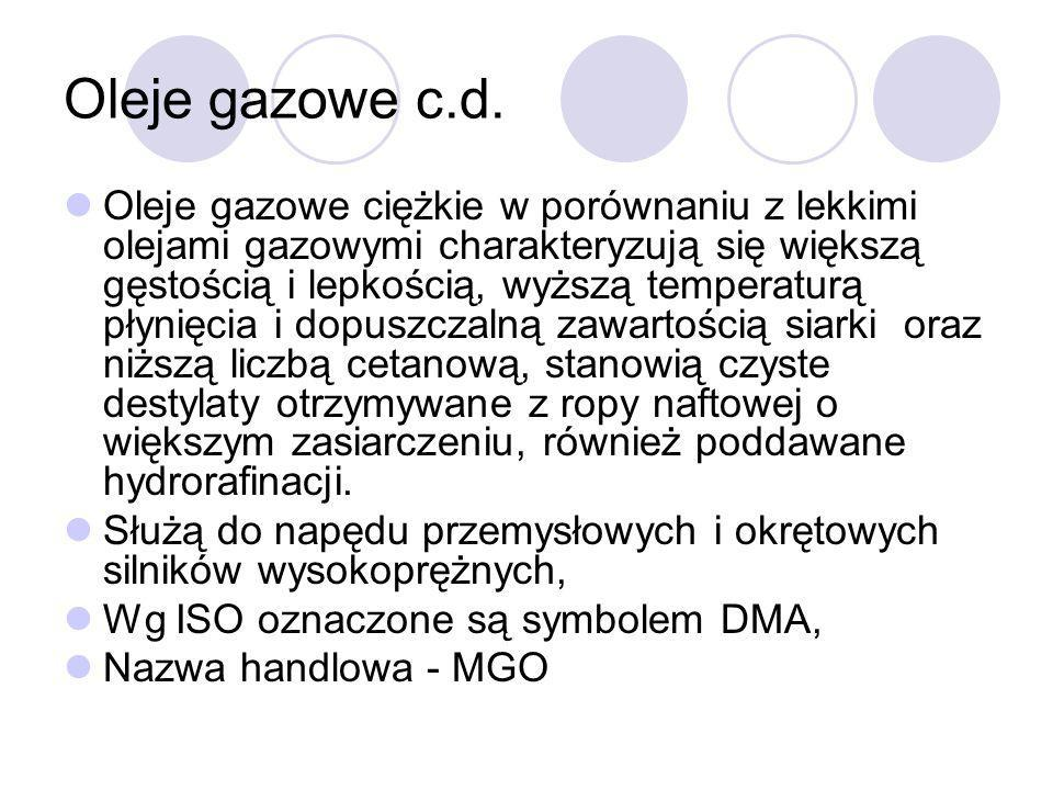Oleje gazowe c.d.