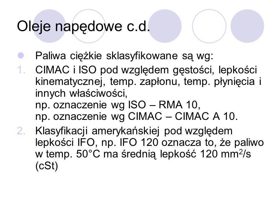 Oleje napędowe c.d. Paliwa ciężkie sklasyfikowane są wg:
