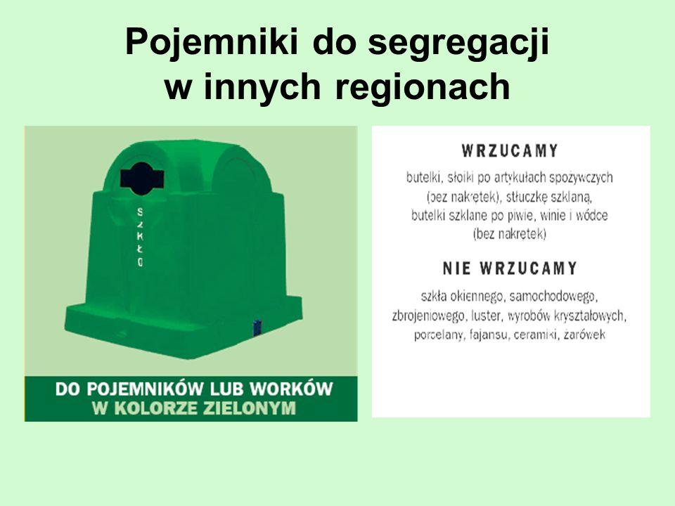 Pojemniki do segregacji w innych regionach