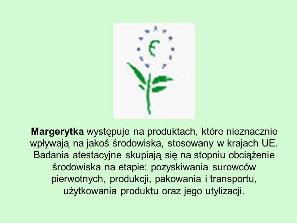 Margerytka występuje na produktach, które nieznacznie wpływają na jakoś środowiska, stosowany w krajach UE.