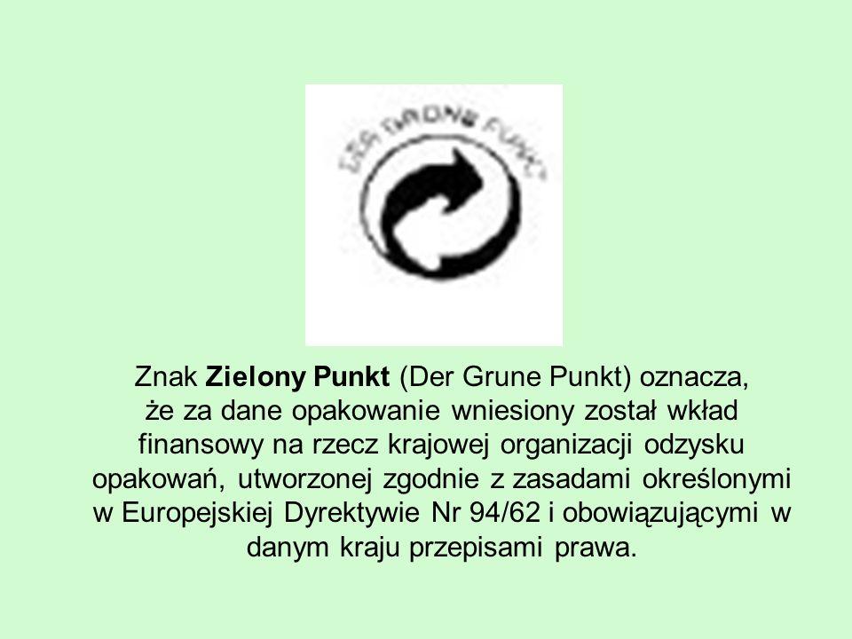 Znak Zielony Punkt (Der Grune Punkt) oznacza, że za dane opakowanie wniesiony został wkład finansowy na rzecz krajowej organizacji odzysku opakowań, utworzonej zgodnie z zasadami określonymi w Europejskiej Dyrektywie Nr 94/62 i obowiązującymi w danym kraju przepisami prawa.