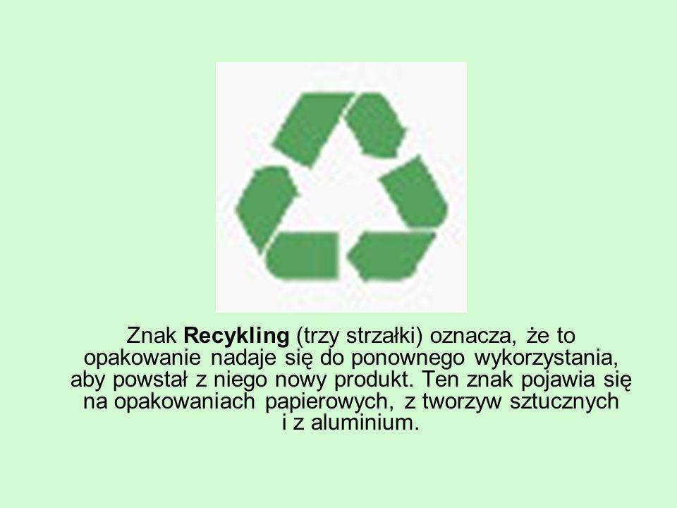 Znak Recykling (trzy strzałki) oznacza, że to opakowanie nadaje się do ponownego wykorzystania, aby powstał z niego nowy produkt.